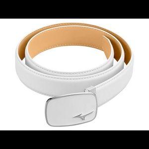 Mizuno White Leather Golf Belt - worn once
